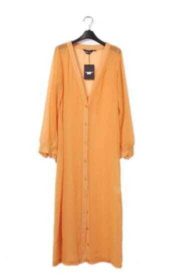 Chiffon Candy-color Long Cardigan Orange