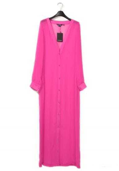 Chiffon Candy-color Long Cardigan Rose Red