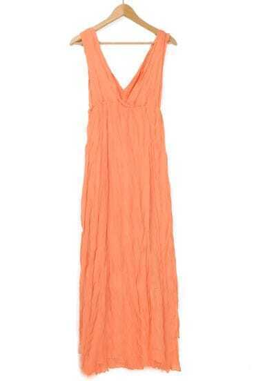 Orange Bohemia Beach Pleated V Neck Chiffon Dress