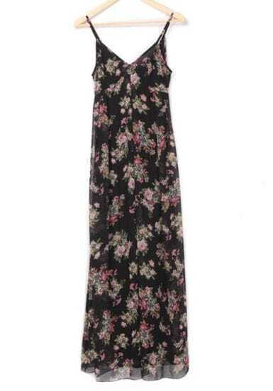 Black Bohemia Floral Chiffon Dress