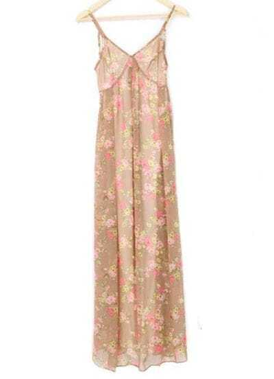 Beige Bohemia Floral Chiffon Dress