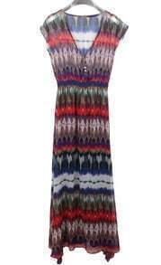 Multicolor Bohemia Chiffon Beach Blouson Dress