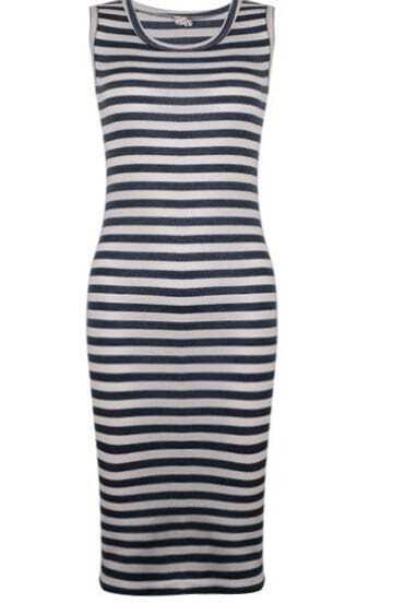 Vintage Slim Stripe Dress Blue And White