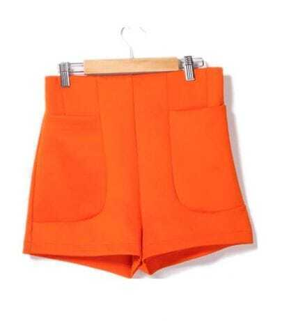 Orange High Waist Shorts