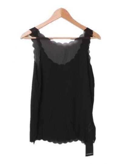 Black Chiffon Sleeveless Vest with Scallop Edge