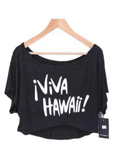Black IVIVA HAWAII Print Short Sleeve Scoop Neck Crop T-shirt