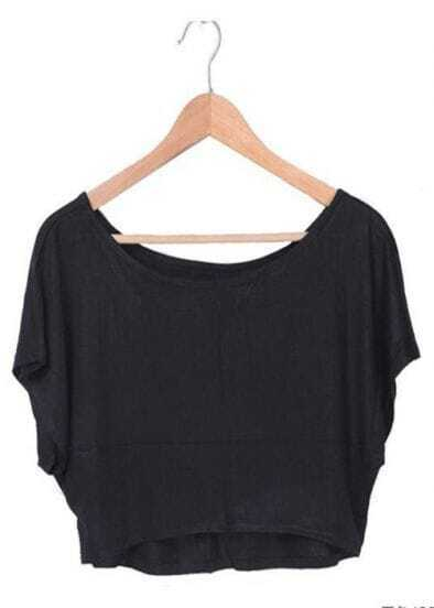 Black Batwing Short Sleeve Crop Scoop Neck T-shirt
