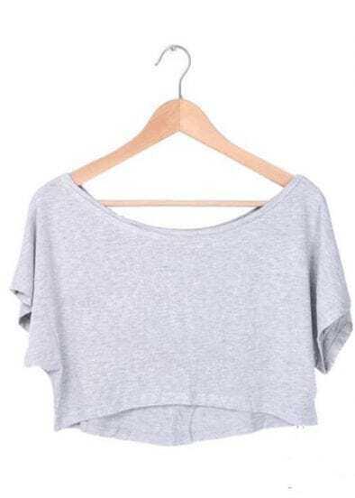 Grey Batwing Short Sleeve Crop Scoop Neck T-shirt