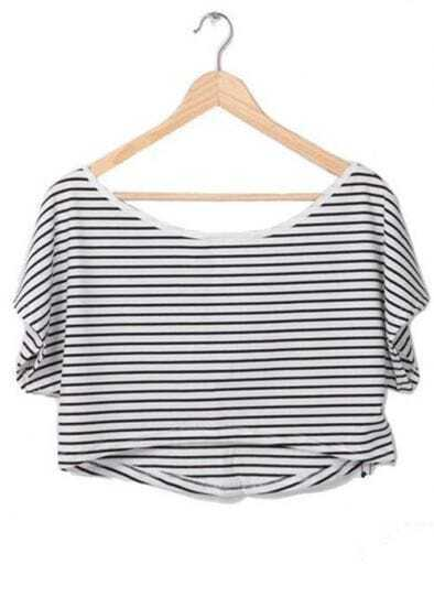 Striped Batwing Short Sleeve Crop Scoop Neck T-shirt
