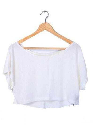 White Batwing Short Sleeve Crop Scoop Neck T-shirt