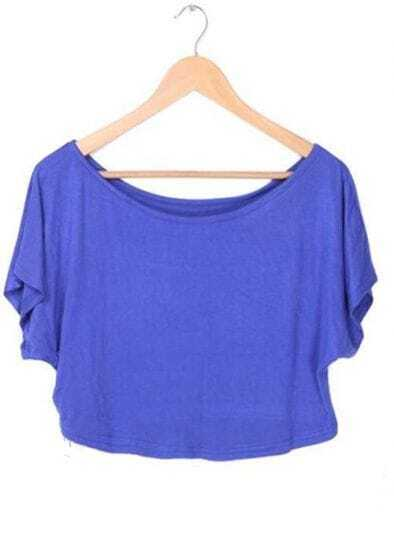 Royal Blue Batwing Short Sleeve Crop Scoop Neck T-shirt