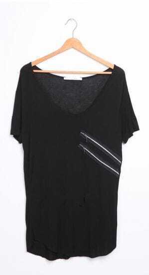 Black Double Zipper Embellished Short Sleeve T-shirt