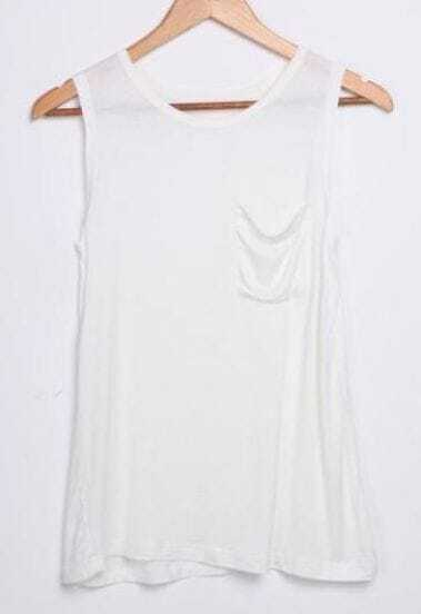 White Round Neck with Front Pocket Tank T-shirt