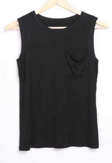 Black Round Neck with Front Pocket Tank T-shirt