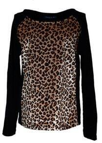 Black Vintage Leopard Print Long Sleeve T-shirt