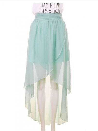 High Waist Chiffon Full-length Skirt Green