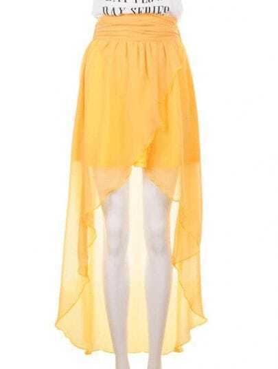 High Waist Chiffon Full-length Skirt Yellow