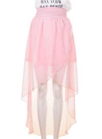 High Waist Chiffon Full-length Skirt Pink
