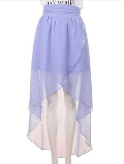 High Waist Chiffon Full-length Skirt Light Blue