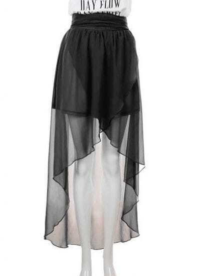 High Waist Chiffon Full-length Skirt Black -SheIn(Sheinside)