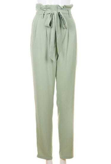 High Waist Vintage Bow Pencil Pants Green