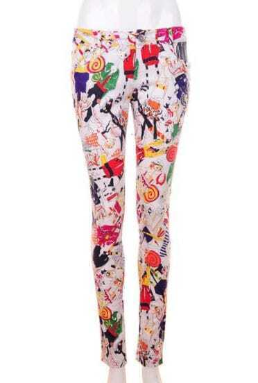 Leisure Vintage Pencil Pants Clown printing