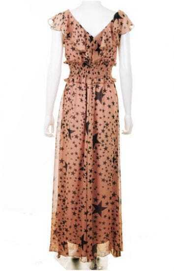 Nude V Neck Star Print Chiffon Dress
