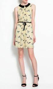 Yellow Bird Print Dress with Belt
