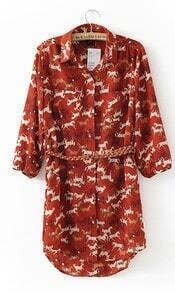 Red Vintage Horse Print Three Quarter Length Sleeve Dress