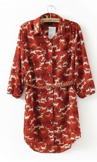 Red Vintage Horse Print Three Quarter Length Sleeve Dress