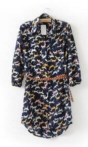 Blue Vintage Horse Print Three Quarter Length Sleeve Dress