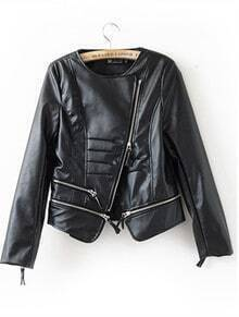 Black Leather Zipper Short Jackets