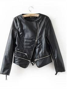 Black Leather Zipper Short Jackets