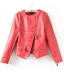 Red Leather Zipper Short Jackets