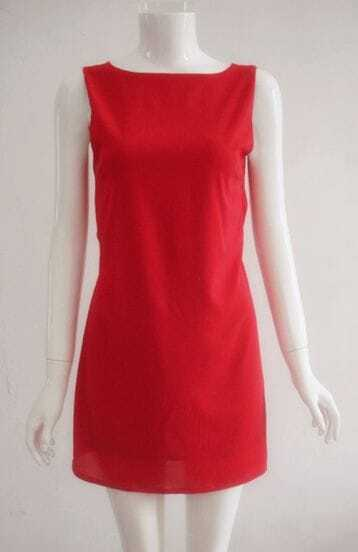 Red Backless Fitted Dress