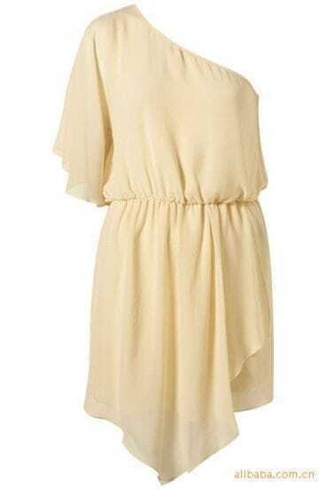 Beige One Shoulder Chiffon Blouson Dress