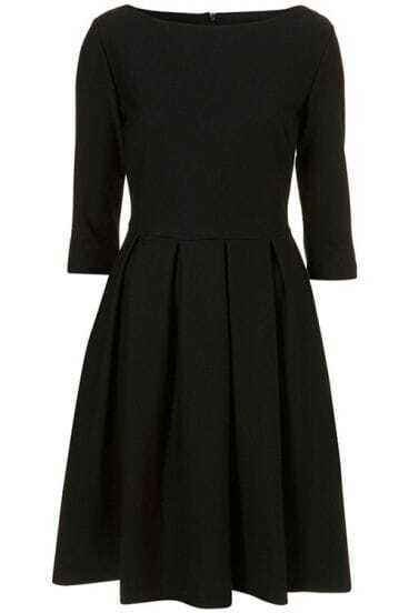 Half Sleeve Waist Black Pleated Dress