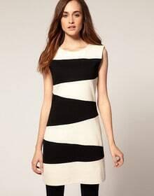 Zebra Striped Sleeveless Dress