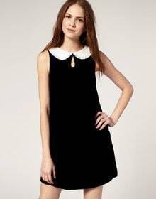 Black Stitching White Collar Sleeveless Dress