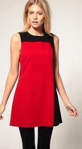 Black and red stitching Slim Sleeveless Dress