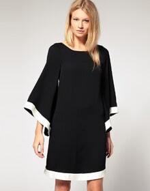Black And White Butterfly Sleeve Mini Dress