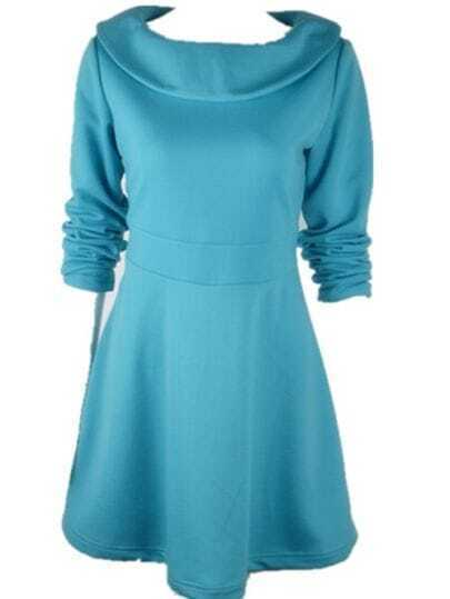 Slim Waist Fashion Long-sleeved Dress Light Blue