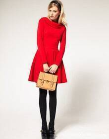 Slim Waist Fashion Long-sleeved Dress Red