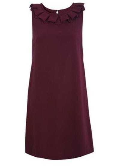 Fold Collar Sleeveless Dress