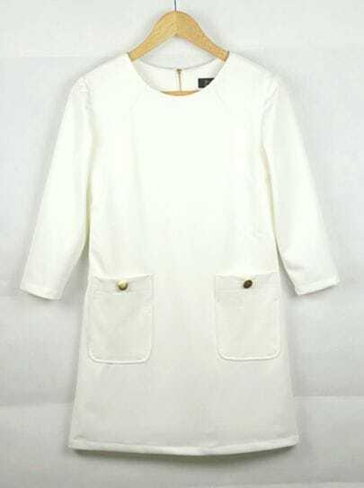 Temperament Simple White Half Sleeve Dress