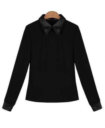 Black Long Sleeve Contrast Leather Lapel and Cuffs T-shirt