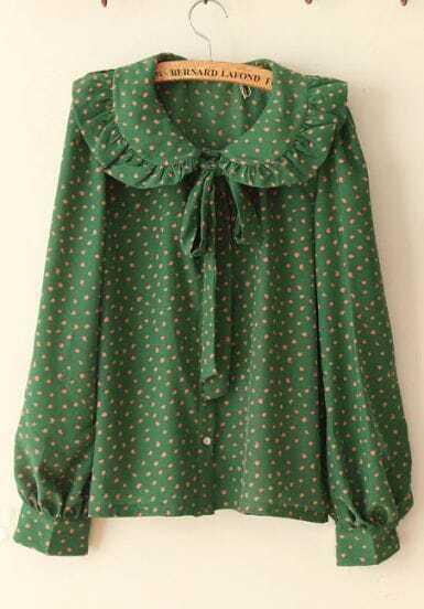 Large Flounce All-match Vintage Shirt Green