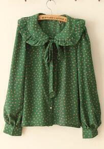 Large Flounce All-match Vintage Shirt Green