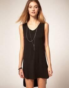 Black Backless Tank Dress
