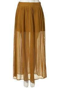 Coffee Chiffon Pleated Full-Length Skirt